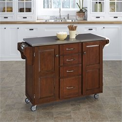 Home Styles Stainless Steel Kitchen Cart in Cherry