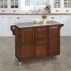 Home Styles Salt and Pepper Granite Kitchen Cart in Cherry