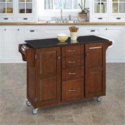 Home Styles Granite Kitchen Cart in Cherry