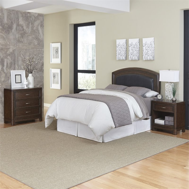 Home Styles Crescent Hill 3 Piece Full Queen Leather Bedroom Set 5549 5016a