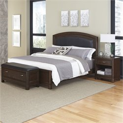 Home Styles Crescent Hill 3 Piece Queen Leather Panel Bedroom Set
