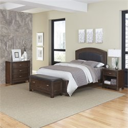 Home Styles Crescent Hill 4 Piece Queen Leather Panel Bedroom Set