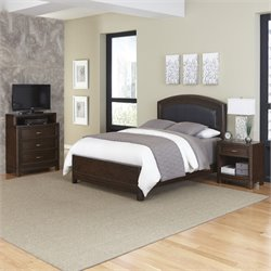 Home Styles Crescent Hill 3 Piece King Leather Panel Bedroom Set