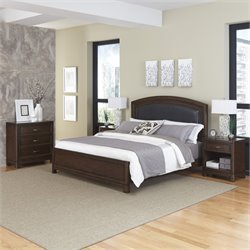 Home Styles Crescent Hill 4 Piece King Leather Panel Bedroom Set
