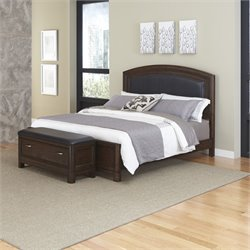 Home Styles Crescent Hill 2 Piece King Leather Panel Bed