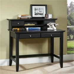 Solid Wood Laptop Writing Desk with Hutch in Ebony