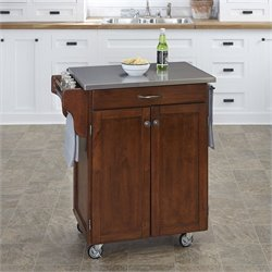 Home Styles Kitchen Cart in Cherry with Stainless Steel Top