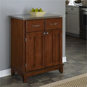 Home Styles Wood Buffet with Stainless Steel Top in Cherry