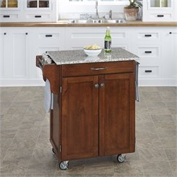 Home Styles Kitchen Cart in Cherry with Salt & Pepper Granite Top