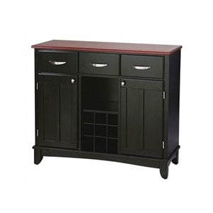 Home Styles 3 Drawer Large Wood Top Buffet Server in Black