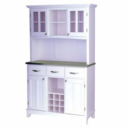 Steel Top Buffet and 2-Door Hutch in White