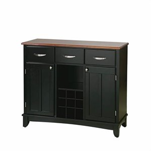Furniture 3 Drawer Large Wood Top Buffet in Black