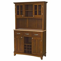 Cherry Wood Buffet with Natural Wood Top and 2-Glass Door Hutch