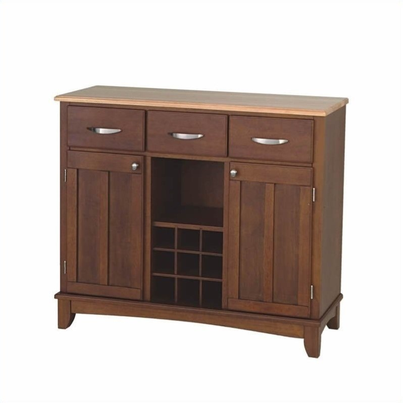 Furniture Large Cherry Base and Natural Wood Top Buffet