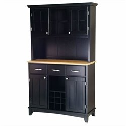 Buffet with Natural Wood Top and 2-Door Hutch in Black