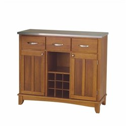 Home Styles Furniture Cottage Oak Base and Stainless Steel Top Buffet