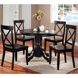 Home Styles Furniture Wood Casual Pedestal Dining Table in Black Finish