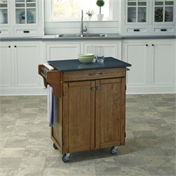 Quartz Top Kitchen Cart in Warm Oak