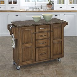Home Styles Create-a-Cart Quartz Top Kitchen Cart in Warm Oak