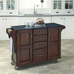 Home Styles Create-a-Cart Quartz Top Kitchen Cart in Rustic Cherry