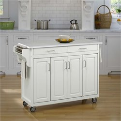 Home Styles Create-a-Cart Quartz Top Kitchen Cart in White