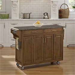 Home Styles Create-a-Cart Quartz Top Kitchen Cart in Cottage Oak