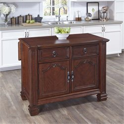 Wood Top Kitchen Island in Distressed Cognac