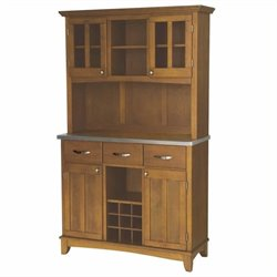 Home Styles Large Cottage Oak Buffet with 2-Door Hutch and Stainless Top