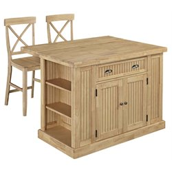 Home Styles Nantucket Butcher Block Top Kitchen Island with 2 Stools