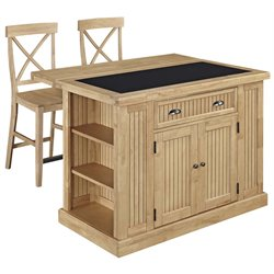 Home Styles Nantucket Granite Top Kitchen Island with 2 Stools