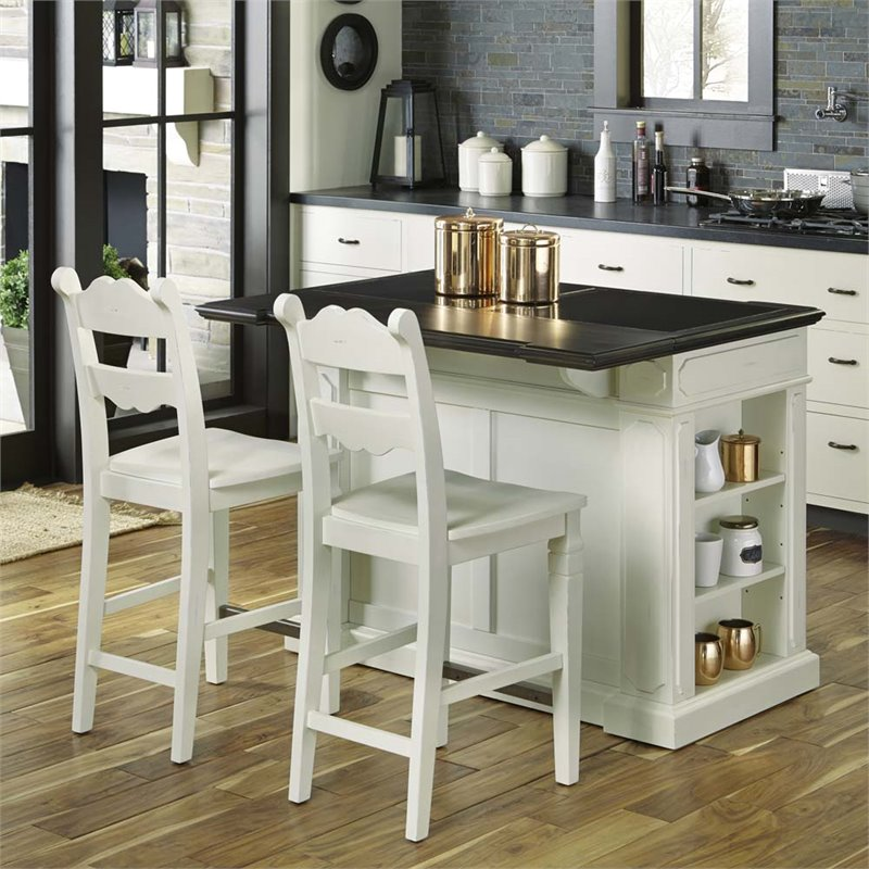 Home styles fiesta granite top kitchen island with 2 - Kitchen island with stools ...