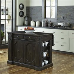 Hacienda Wood Top Kitchen Island in Distressed Walnut