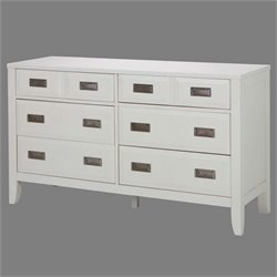 Newport 6 Drawer Dresser in White