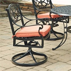 Home Styles Biscayne Swivel Rocker Patio Dining Chair in Black