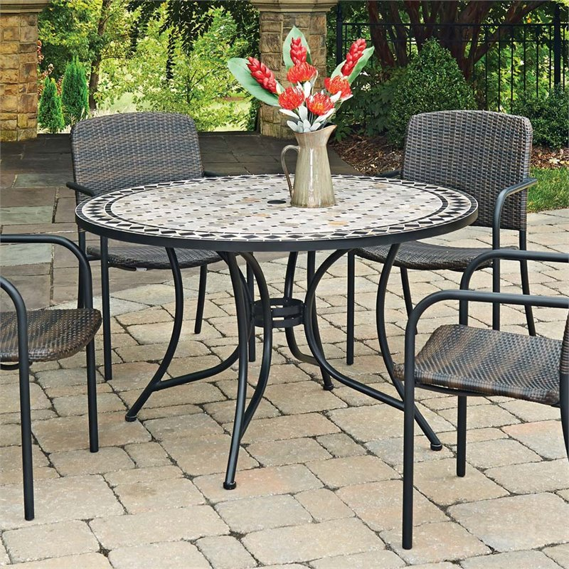 Home Styles Laguna 51 Round Marble Top Patio Dining Table In Black