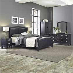 Home Styles Prescott 5 Piece Queen Panel Bedroom Set in Black