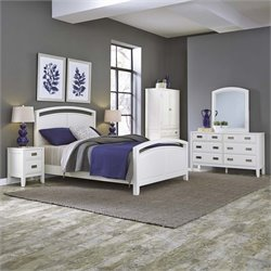 Home Styles Newport 5 Piece Queen Panel Bedroom Set in White