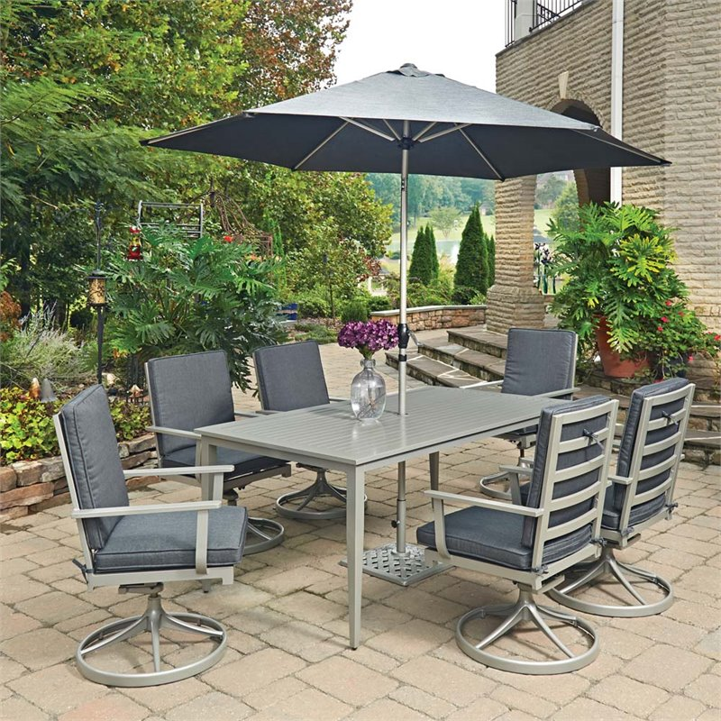Home Styles South Beach 9 Piece Patio Dining Set In Gray 5700 3156