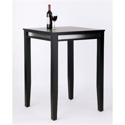 Home Styles Furniture Manhattan Solid Wood Black Bar Height Pub Table with Stainless Steel Trim