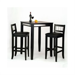 Home Styles Manhattan 3 Piece Pub Set in Black