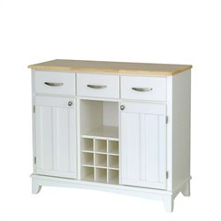 Home Styles White Buffet with Natural Wood Top