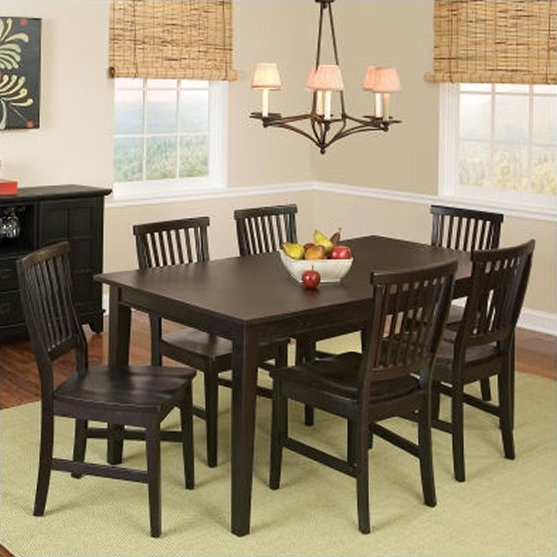 Home Styles Arts & Crafts 7 Piece Dining Set in Ebony