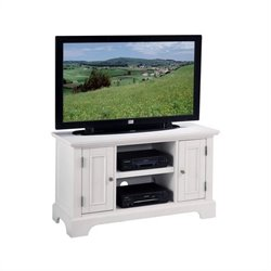 Wood TV Stand Cabinet in Multi-Step White Finish