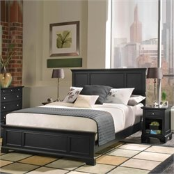 Queen Wood Panel Bed 2 Piece Bedroom Set in Ebony