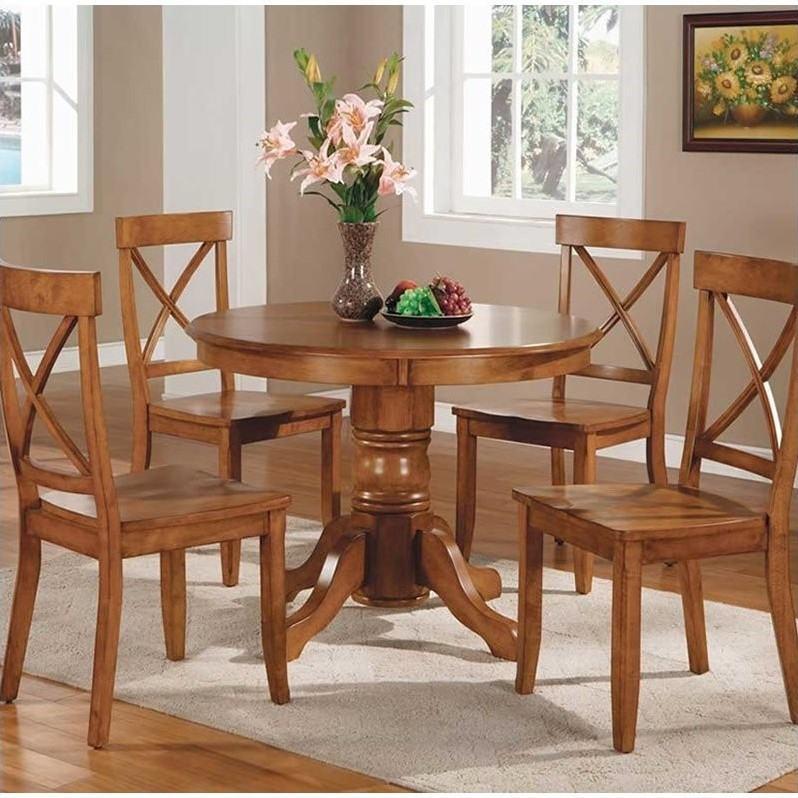 Home Styles Furniture Cottage Oak Pedestal Casual Oak Dining Table