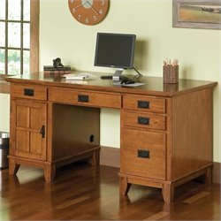 Home Styles Furniture Arts & Crafts Wood Pedestal Desk in Cottage Oak