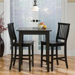 Home Styles Arts & Crafts 3 Piece Bistro Set in Ebony