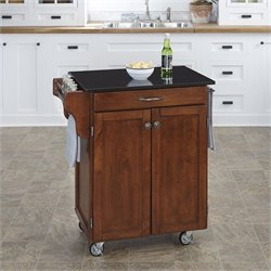 Home Styles Kitchen Cart in Cherry with Granite Top