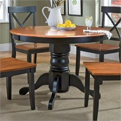 Round Pedestal Casual Dining Table in Black and Cottage Oak
