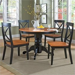 Home Styles 5 Piece Round Pedestal Dining Table Set in Black and Cottage Oak Finish